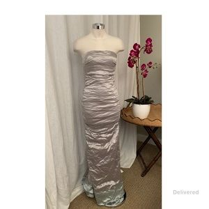 Nicole Miller Strapless Stretch Metal Gown sz 4